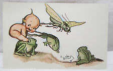 ROSE O'NEILL KEWPIES FANTASY,LEAP FROG,GRASSHOPPER,1976 ARTIST SIGNED POSTCARD
