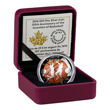 2016 Canada $25 1 oz Colorized Proof Silver Domed 125th Basketball (OGP SKU42382