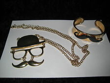 PAIR OF RETRO JEWELRY WITH A MUSTACHE THEME- PERFECT FOR HIPSTERS- VERY UNIQUE!
