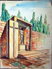 Acquerello '900 su carta Watercolor Architettura futurista cubista razionale-58