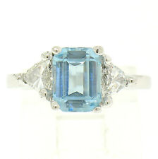 Classic Platinum Fine Emerald Aquamarine & Trillion Diamond 3 Stone Ladies Ring