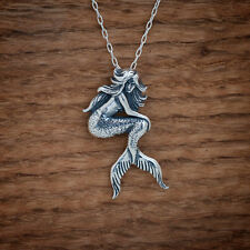Handcast 925 Sterling Silver Mermaid Pendant FREE Round Cable Link Chain