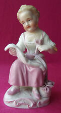 BEAUTIFUL ANTIQUE GERMAN RUDOLF KRAMMER PORCELAIN GIRL PICKING FLOWERS FIGURINE