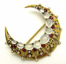 CROWN TRIFARI A. PHILIPPE 1946 Sterling Crescent Moon Brooch with Moonstones