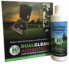 PORTABLE GOLF BALL WASHER & CLUB HEAD CLEANER + GOLF BALL CLEANING SOLUTION 16oz