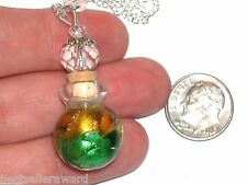 1pc Imp Murano Swirl Color Glass oil perfume bottle cork pendant vial Necklace