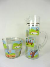 Glass Pitcher and Ice Bucket Golf Novelty Cartoons