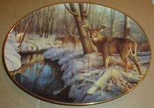 The Bradford Exchange Ltd Edition Oval Collectors Plate WINTERS CALM Stag Deer