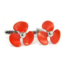 Red Propellor Cufflinks Nautical Navy Sailor Boat Ship Propeller AJ298 NEW