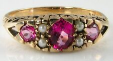 CLASSY 9K/CT VICTORIAN PINK TOPAZ  & SEED PEARL RING