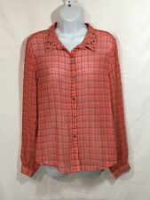 NWT DREAM OUT LOUD by Selena Gomez Sheer  Shirt Plaid Woman's Sz. XL Orange