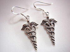 Caduceus Medical Symbol Earrings 925 Sterling Silver Dangle Corona Sun Jewelry