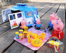 Hot Peppa Pig blue Car Vehicle Toy with Action Figure Peppa George Daddy Mummy