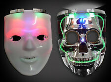 LED LIGHT UP FLASHING 2 IN 1 WHITE SKULL MASK SKELETON RAVE PARTY FAVOR 7 MODES