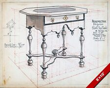 VINTAGE TECHNICAL DRAWING SLATE TOP TABLE PLANS PAINTING ART REAL CANVAS PRINT