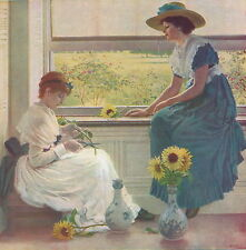 Antique Old Vintage Art Print Victorian Woman Hat Summer Sunflowers SUN MOON