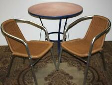 Vintage Stainless Rattan Chair and Copper Top Dining Table 3pc Set - [PL1082]