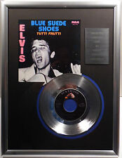 "ELVIS PRESLEY - Blue Suede Shoes 7"" Platin Schallplatte RCA Record ( goldene )"