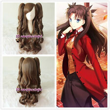 FateStay Night Tohsaka Rin 60cm Dark Brown Cosplay Wig 2clips wavy Ponytail
