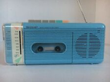 SHARP QT-5 AM/FM Portable Radio cassette 1980s Blue( Only Radio Works)