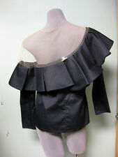 Johanna Ortiz NWT Black Poplin Nude Mesh Lazarote One Shoulder Top Blouse 2