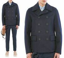 $2,595 RUNWAY Burberry Prorsum 36 46 Navy Cashmere Men Pea Coat Jacket ITALY New