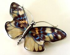 VINTAGE VICTORIAN SILVER BUTTERFLY BROOCH MADE WITH IRIDESCENT BUTTERFLY WINGS