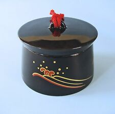 TRINKET JEWELERY BOX JAPAN Art Deco style quality lidded ceramic black gold red