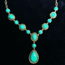Vintage Turquoise 38.7 CT Oval Natural Chain Pendant Necklace Woman Jewelry A90