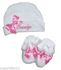 Personalized Baby Beanie & Booties Set White w/ Pink Bows 100% Cotton Free Ship