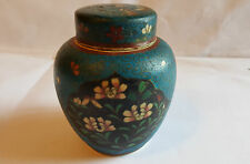 Japanese Meiji  Circa 1880  Earthenware  Cloisonne Lidded Caddy