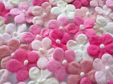 100! Cute Mulberry Paper Daisy Flowers - Lovely Pink & White Mix - 17mm/0.6""