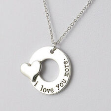 Silver I Love You More Necklace Pendant Ladies Unique Gift For Her Mum Daughter