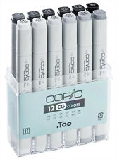 COPIC .TOO ORIGINAL MARKER - 12 COOL GREY SET - TWIN TIPPED - 12 UNIQUE COLOURS