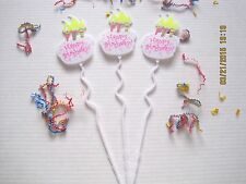 Floral Picks HAPPY BIRTHDAY CAKE & CANDLES 12/Pk NEW!
