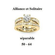 Dolly-Bijoux Bague T62 2 en 1 Solitaire & Alliance Pavé Diamant Cz Plaqué Or 18K