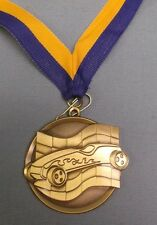 gold pinewood derby medal blue & gold neck drape cub scout trophy