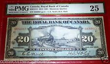 $20, 1913 Canada,ROYAL BANK OF CANADA  ,PMG 25. FAMOUS TRAIN CHARTERED BANKNOTE