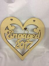 Engaged 2017 Heart 150mm Approx Mdf Wood Laser Cut Wooden