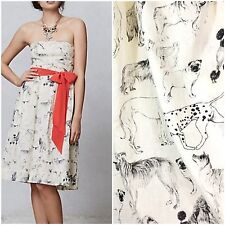 Anthropologie 2 Fetch & Frolic Dog Print Dress Black Ivory Pug Dalmatian Poodle