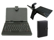 "7 INCH LEATHER Stand Case Cover Per 7"" Tablet con Micro USB Tastiera Nero Nuovo"