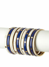 NWT Chamak by Priya Kakkar 12 Piece Bangle Set  brass white & cobalt blue enamel