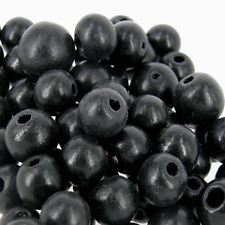 *500* BLACK  Wooden 10mm round Craft  Beads  W97