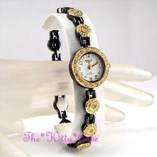 Omax Gunmetal & Gold Pl Suizo Marca Seiko Movt Watch W Cristales Swarovski je0496