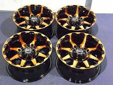 "14"" POLARIS RZR XP1000 STI HD6 RADIANT ORANGE & BLACK ATV WHEELS NEW SET 4"