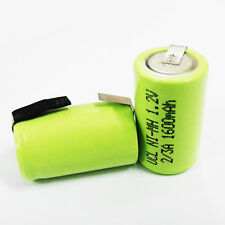 2 Pcs 2/3 A 1600mAh 1.2V Ni-Mh Rechargeable Battery W/ Tab With Tab