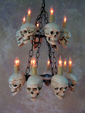 Two-Tiered Medium Skull Chandelier, Halloween Prop, Human Skeletons, NEW