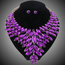 Gold Plated Purple Crystal Jewelry Set For Brides Necklace Earring Wedding Party
