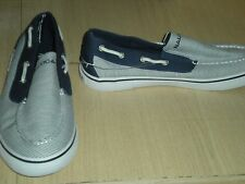Nautica Doubloon Mens Canvas Slip On Boat Shoe Navy Blue/White Striped Size 8.5