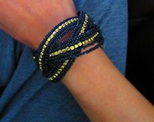 New Black Gold Beads Weave Wave Intertwined Bangle Cuff Bracelet Adjustable